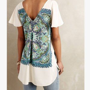Maeve Anthropologie Paisley Silk Tunic Blouse M